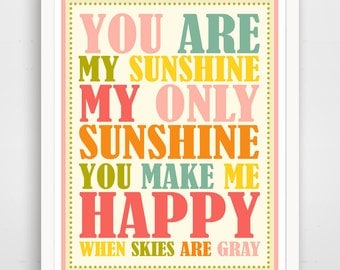 You are my Sunshine Wall Art Kids, Nursery Song, Rainbow Print, Baby Nursery Art, Pink Sunshine Print for kids Room Art