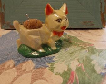 Vintage JAPAN Porcelain PINCUSHION Dog Sewing Room Accessory 1940s Vintage Needlecraft