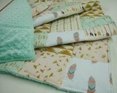 Born Free Mint and Gold Minky Comforter Blanket  You Choose Size and Minky Color MADE TO ORDER