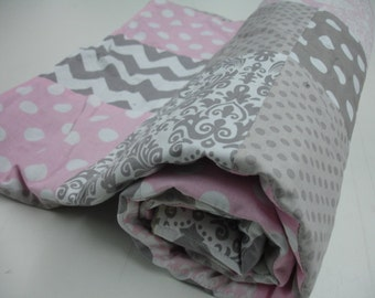 Baby Pink and Gray Mixed Patchwork Minky Blanket MADE TO ORDER