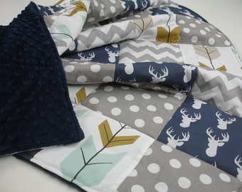 Deer Head and Arrows Mint Gray and Gold Minky Blanket You Choose Size and Minky Color MADE TO ORDER No Batting