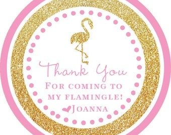 Pink Gold Glitter Flamingo Party Thank You PERSONALIZED Stickers, Tags, Labels, or Cupcake Toppers, various sizes, printed & shipped