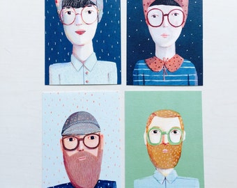4 postcards, man and woman, flowers, home decor, wall decor, art, illustration