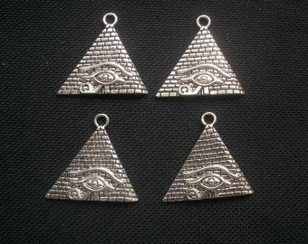 4 Egyptian Pyramid Pendants Eye of Horus