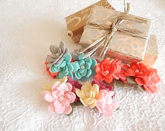 Floral pins, flower brooches, shoe pins, pink brooch, aqua brooch, orange shoe pin, hat pin