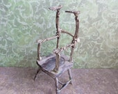 Miniature Skeleton Chair Dollhouse Scale Spooky Haunted OOAK Artist Made Handmade