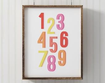 Numbers print, PRINTABLE number art, nursery decor, modern nursery art, playroom printable, wall art print, counting print