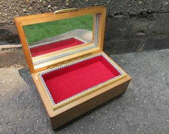vintage music box Swiss wooden Windup Franz Maty Wood Trinket Jewelry mirror Lined Switzerland Piccolissima Serenata Come Prima Collectible