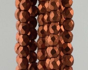 Firepolish Czech Faceted Matte Metallic Antique Copper Glass Beads 3mm (50)