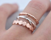Valentines Day Sale Rose Gold and Silver Pebble Raw Twig Ring Set|  Stacking Rings Set| Vermeil Rings