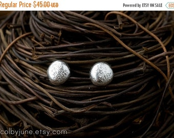 Valentines Day Sale Silver Pebble Studs | Silver Earrings