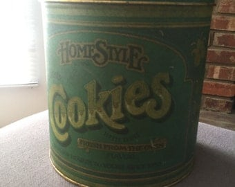 Vintage Green Cookie Tin