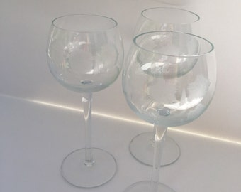 Set of 3 Etched Wine Glasses