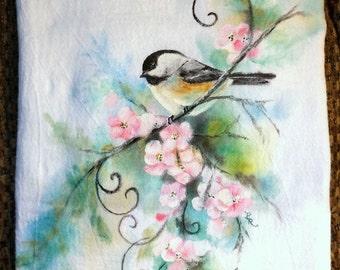 Hand Painted Flour Sack Towel Hummingbird & Fuschias