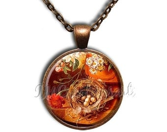 20% OFF - Bird Nest Amber Glass Dome Pendant or with Chain Link Necklace AN184