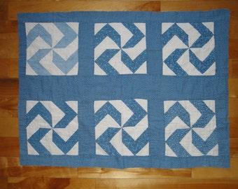 Antique Blue Calico Pin Wheel Quilt Piece | Vintage Calico Quilt Piece |  Old Blue Calico Cutter Quilt Piece