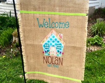 Custom Burlap Garden flag