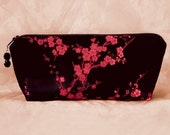 CHERRY BLOSSOM Black and Red Silk Brocade Makeup Bag