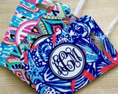Monogrammed Luggage tag, Heavy duty Fiberglass reinforced baggage tag, lilly inspired patterns, monogrammed luggage tags 9 pattern choices