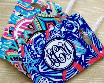 Monogrammed Luggage tag, Heavy duty Fiberglass reinforced baggage tag, lilly inspired patterns, monogrammed luggage tags 12 pattern choices