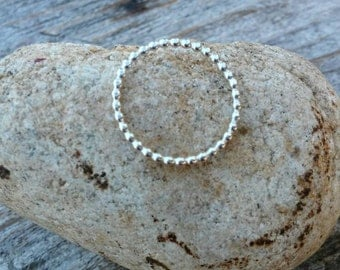 Sterling Silver Beaded Stacking Ring Band