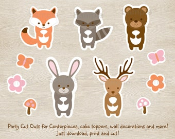 Pink Woodland Animal Cut Outs / Wall Decor / Party Decor / Wodland Baby Shower / Girl Forest Animals / Printable INSTANT DOWNLOAD