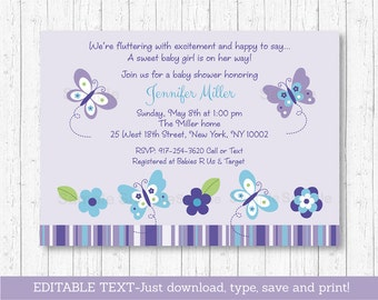 Butterfly Baby Shower Invitation / Butterfly Baby Shower / Purple Butterfly / Purple & Blue / Baby Girl / INSTANT DOWNLOAD Editable PDF A373