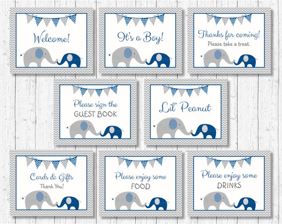 Cute Elephant Baby Shower Signs Elephant Baby Shower 8 Printable