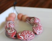Ceramic and Glass African Beads -  Chocolate Rose Collection