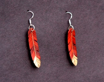 Handcarved Redheart, Spalted Hackberry and Maple Wood  Leaf / feather  Earrings  J160302