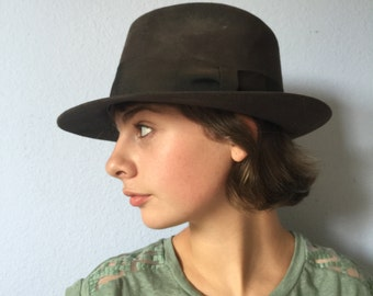 Vintage Hat and Box Hatbox Royal Stetson Fedora - Indiana Jones Dark Brown