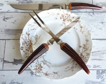Vintage Knives -Faux Antler Carving Knife Knives - Bakelite - Regent Sheffield