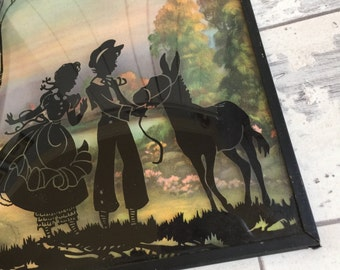 Vintage Silhouette Picture - Convex Glass Boy and Girl with Donkey