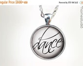 ON SALE Dance Script : Glass Dome Necklace, Pendant or Keychain Key Ring. Gift Present metal round art photo jewelry by HomeStudio