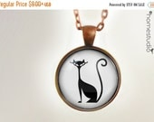 ON SALE Fab Feline WHT : Glass Dome Necklace gift present by HomeStudio. Round art photo pendant jewelry. Available as Key Ring Keychain