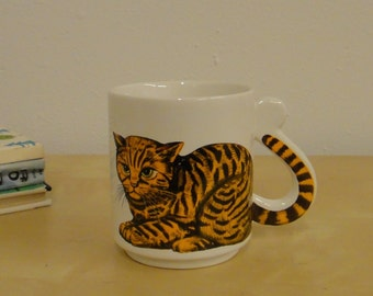 Vintage Cat Mug with Tail Handle