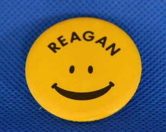 Vintage 1980 Smiley Face - Ronald Reagan Presidential Campaign Pinback Button