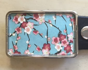 Flower Belt Buckle.  Cherry blossoms.  Turquoise belt buckle.  Womens belt buckles.