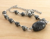 Larvikite and Lava Rock Necklace, Sterling Silver, Gray Gemstone Necklace, Black Necklace, Black Labradorite, Gray Gemstone Necklace,  #4618
