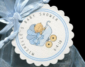 Personalized Baby Shower Tags - Baby Boy Shower - Favor Tags - Baby Boy Tags - Blue - Baby Buggy
