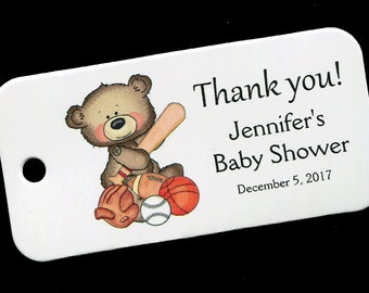 Baby Shower Favor Tags - Personalized Tag - Baby Boy - Gift Tags - Personalized Favor Tags - Thank You Tag - Sports Bear