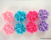 BOGO - 8 Rose Cabochon Cluster Resin Assorted 16mm - No Holes - 8 pc - CA2014-AS8 - Buy 1, Get 1 Free - No coupon required