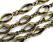 Handmade Chain, Antique Bronze Alloy Oval Links 21x8mm Not Soldered - 38 in -STR9096CH-AB38