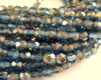 50 Sapphire Celsian Czech Transparent Glass Bead 4mm Fire Blue Polished Faceted Round - 50 pcs - G6038-CLS50