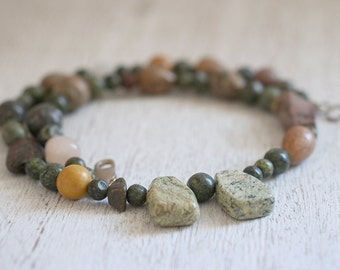 Jasper necklace. Jasper necklace with sterling silver clasp. Jasper beads, Gemstone necklace, green necklace beads, boho necklace, modern.