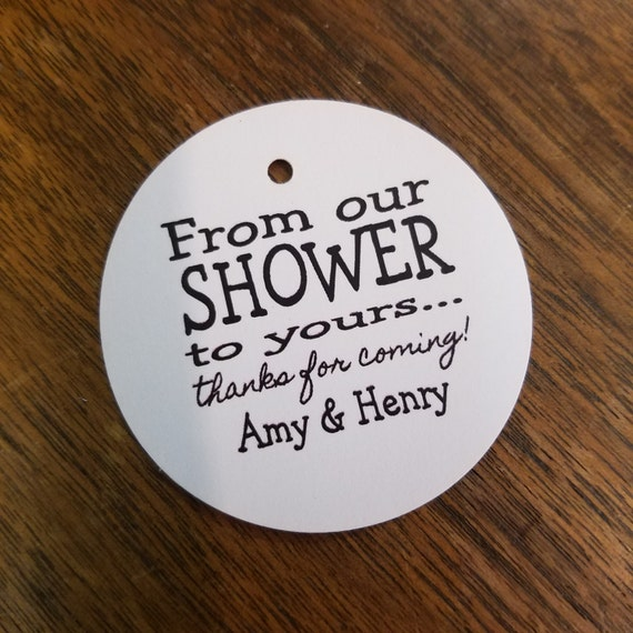 From Our Shower to Yours Personalized Shower Favor ROUND tag choose your amount