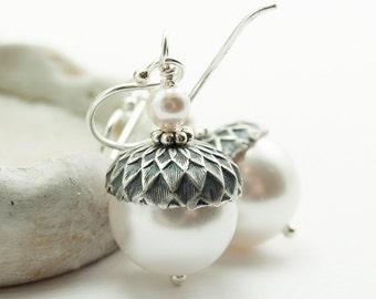 White Acorn Earrings, Winter Wedding Earrings, Hostess Gift, Swarovski Pearls Sterling Silver Earwires, Mothers Day Gift
