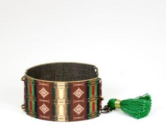 Green Ethnic Tribal Western Blanket Bracelet Green Bracelet Tribal Bracelet Blanket Bracelet Native American Bracelet Southwest Bracelet