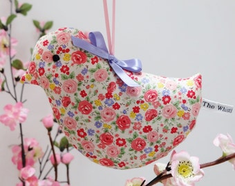 Large Lavender Bird Sachet, Pink and Cream Ditsy Little Roses Fabric, Scented Sachet, Scented Gift