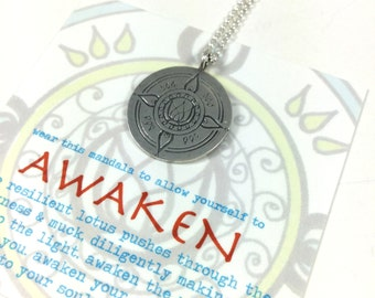 Awakening Mandala Pendant Zen Boho Yoga Lifestyle Festival Jewelry Hand drawn and solid sterling silver pendant